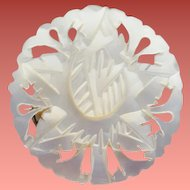 Hand Carved Mother of Pearl Brooch Luminous True Shell