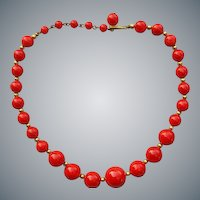 Bakelite Bead Necklace 1950s Rock'in Red