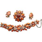 Magnificent Brooch Bracelet Earrings Demi Parure Unsigned Schreiner