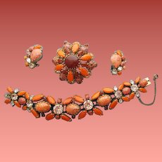 Magnificent Brooch Bracelet Earrings Demi Parure Unsigned Schreiner