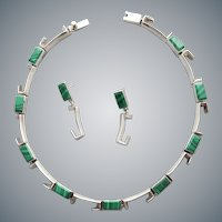 Sterling Silver and Malachite Necklace with Earrings Industrial