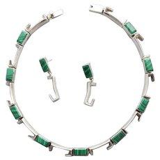 Sterling Silver - Malachite Necklace - Earrings Industrial