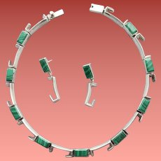 Sterling Silver and Malachite Necklace with Earrings Pre 1948 Industrial Mid Century 109 Grams