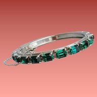 Emerald Green Rhinestone Bangle Bracelet Hinged Oval