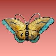Sterling Butterfly Pin Enamel Guilloche David Andersen Norway