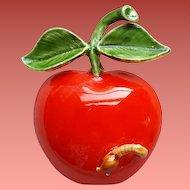Hungry Caterpillar on an Apple Enamel Metal Brooch Original by Robert