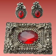 1930s Red Rhinestone Brooch With Earrings Bohemian Demi Parure