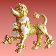 1960s Prancing Poodle Pin Fresh Water Pearls Gold Plated Dog Brooch
