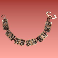 1950s Solid Copper Link Bracelet Aztec God Image Size Small