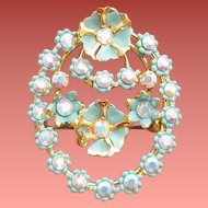 1950s Rhinestone Brooch Tiny Blue Flowers Austria