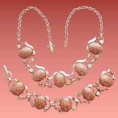 1950s Necklace and Bracelet Faux Goldstone Cabochons Mid Century Parure Gold Stone
