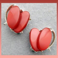 1950s Moonglow Lucite Clip Earrings Deep Berry Colored Beauties