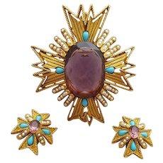 Large Vintage Rhinestone Maltese Cross Brooch / Pendant with Earrings Parure signed ART