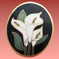 Elegant White Madonna Lilies on Black Vintage Cloisonne Brooch NOS Mint