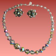 Vendome Crystal Smoke Necklace with Earrings Aurora Borealis Finish