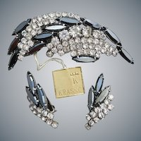 1960s Earrings Brooch Rhinestone Parure With Tags