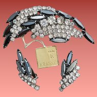 1960s Unworn Parure Crystal with Black Diamond Rhinestones by Krasne Dead Stock