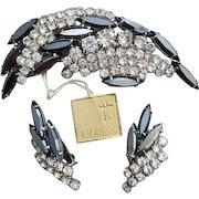 1960s Unworn Parure Crystal with Black Diamond Rhinestones by Krasne Dead Stock
