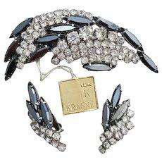 1960s Earrings Brooch Rhinestone Parure With Tags