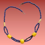African Trade Bead and Copal Necklace Vintage Ethnic Jewelry