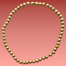 14k Yellow Gold Ball Bead Necklace Circa 1900 Victorian Era 19.2 Grams