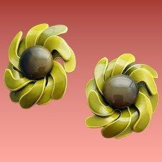 Crazy Vintage Earrings Swirling  Enameled Flowers