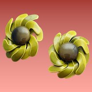 Whimsical 1970s Earrings Avocado Enameled Flowers with Swirling Petals Clip on