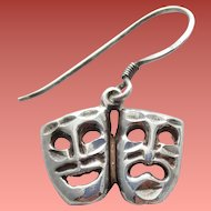 Sterling Thespian Masks Theater Comedy Tragedy Earring or Bracelet Charm