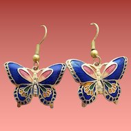 Vintage Butterfly Earrings Pierced Cloisonne Enamel
