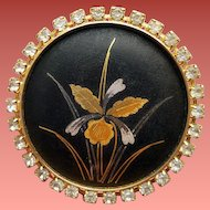 Vintage Damascene Rhinestone Brooch or Necklace Silver Gold Inlay Orchid