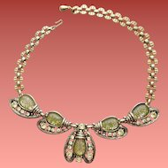 1950s Selro Necklace Dramatic Bodice Filling Winged Bug Motif
