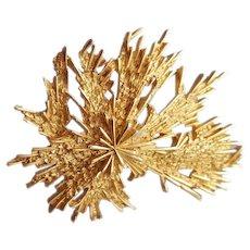 1960s Trifari Brooch Gold Tone Cosmic Free Form Brutalist Mid Century
