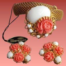 Metal Mesh Bracelet with Earrings Faux Coral Rose Unworn
