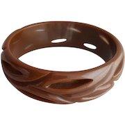 Carved Bakelite Bangle Bracelet Pierced Through Rich Cocoa Brown