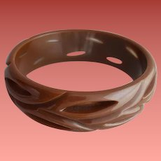 Carved Bakelite Bangle Bracelet Pierced Through Rich Cocoa Brown