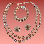 1960s Crystal Parure Necklace Bracelet Earrings Ice Tea and White