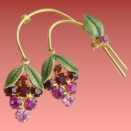 Rhinestone and Enameled Brooch Reds, Fuchsia and Pink Dangling Berries