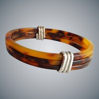 Faux Tortoise Shell Bangle Bracelets Wrapped in Sterling Silver
