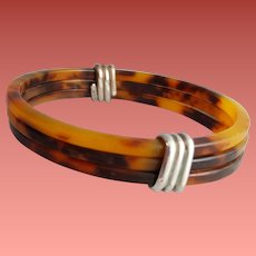 Three Faux Tortoise Shell Bangle Bracelets Wrapped with Sterling Silver Size Small