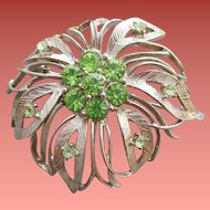1960s Brooch Lime Green Rhinestones and Silver Tone Flower Burst