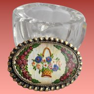 Essex Crystal Glass Brooch Reverse Painted Basket of Flowers