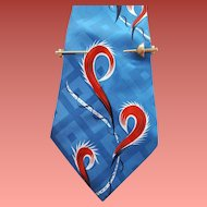1950s Illusion Sword Tie Bar for Wide Neckties Tie Clasp
