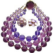 Dramatic Purple Lucite Necklace and Earrings Royal Parure