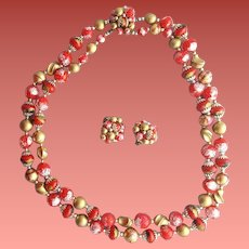 Double Strand Necklace Clip Earrings Salted Red Swirled Gold Vintage Parure