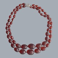 Merlot Bakelite Necklace Double Strand Sterling Clasp