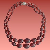 Vintage Merlot Bakelite Double Strand Necklace with Sterling Clasp