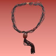 African Trade Bead Necklace Large Resin Bead and Glass Seed Beads