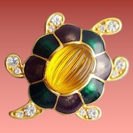 Vintage Monet Rhinestone Turtle Brooch Glass and Enamel Shell