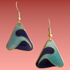 1980s Pierced Earrings Art Deco Motif Unworn Designer Bill Johnson