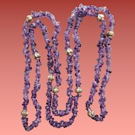 Vintage Amethyst Bead Necklace 41 inches Long